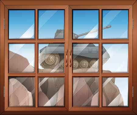 opened eye: Illustration of a window across the cliff with a tank