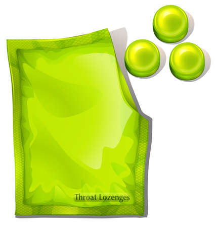Illustration of a pack of green throat lozenges on a white background