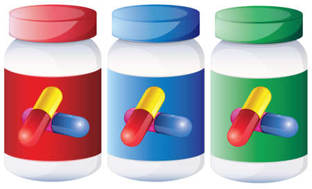 Illustration of the capsules inside the medical bottles on a white background Vector