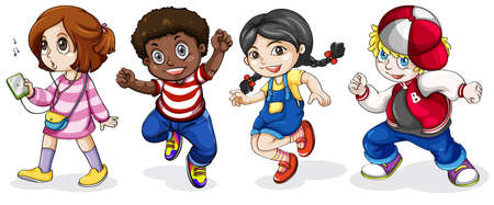 Illustration of the Black and Caucasian kids on a white background Vector