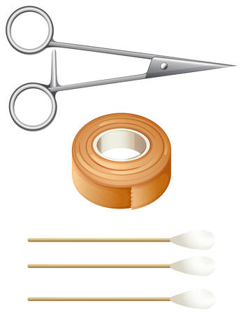 sterilized: Illustration of the things needed for first-aid on a white background