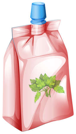 sealable: Illustration of a herbal drink on a white background