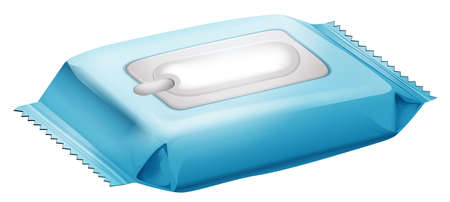 wet cleaning: Illustration of a baby wipes on a white background