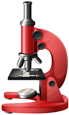 photons: Illustration of a red microscope on a white background Illustration