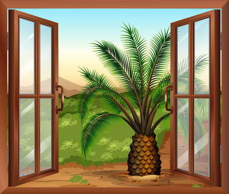 opened eye: Illustration of a window with a view of the palm plant
