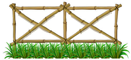 Illustration of a bamboo fence with grass on a white background