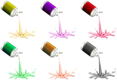 paint container: Illustration showing the inks on a white background