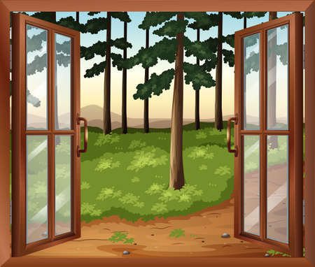 opened eye: Illustration of a window with a view of the trees