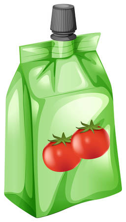 pouch: Illustration of a tomato juice in a drinking pouch on a white background Illustration