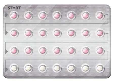 白い背景の上の経口避妊薬のパックのイラスト