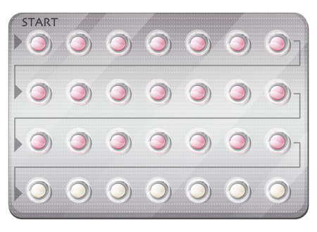Illustration of a pack of birth control pills on a white background
