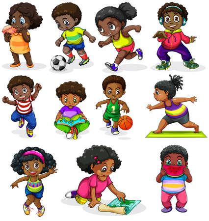 Illustratie van de zwarte kinderen die betrokken zijn bij verschillende activiteiten op een witte achtergrond