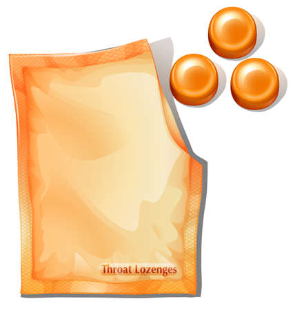 cold storage: Illustration of a pack of orange throat lozenges on a white background