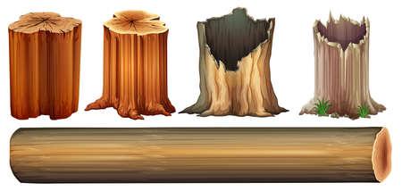 Ilustración de un registro y tocones de árboles sobre un fondo blanco