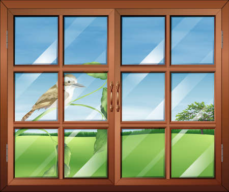 wall mounted: Illustration of a closed window with a bird outside
