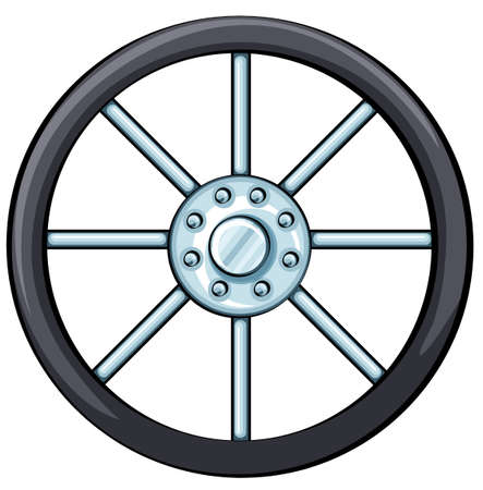 Illustration of a wheel on a white background