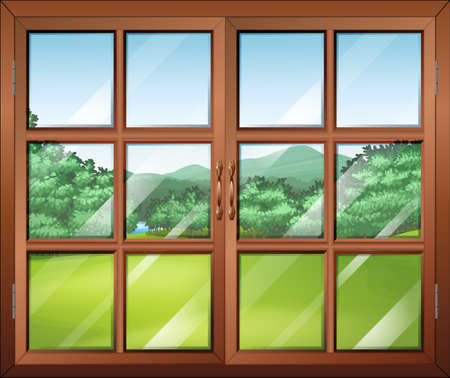 opened eye: Illustration of a closed window with a view of the green surroundings Illustration