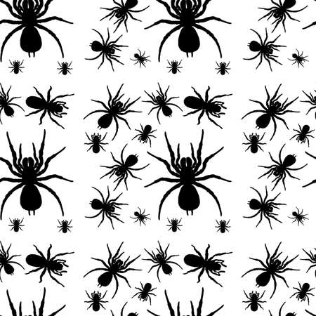 Illustration of a seamless design with spiders on a white background Illustration