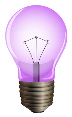Illustration of a purple light bulb on a white background