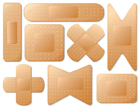 Illustration of the medical plasters on a white background Vector