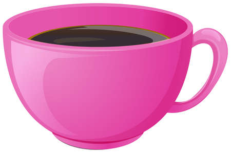 drawings image: Illustration of a pink cup with coffee on a white background Illustration