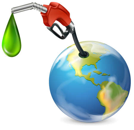 Illustration of a petrol pump and a globe on a white background