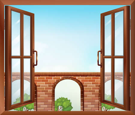 opened eye: Illustration of an open window with a view of the gate