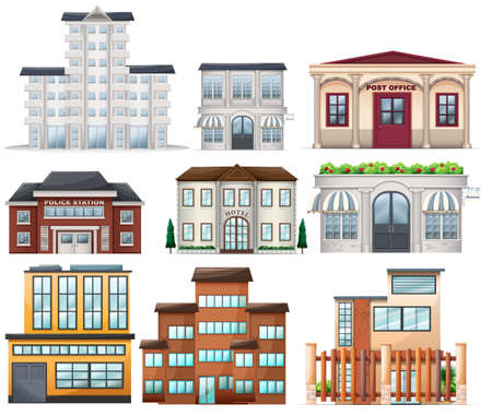 tall buildings: Illustration of the big buildings on a white background