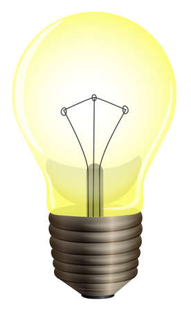 glows: Illustration of a yellow bulb on a white background Illustration