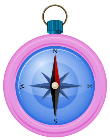 aligned: Illustration of a pink compass on a white background
