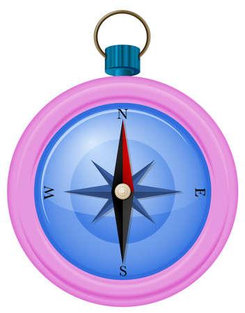 puntos cardinales: Ilustración de una brújula de color rosa sobre fondo blanco