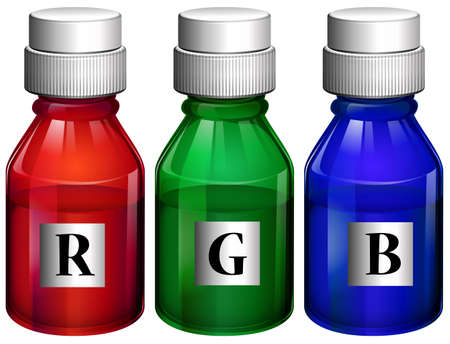 particulate matter: Illustration of the three bottles of ink on a white background