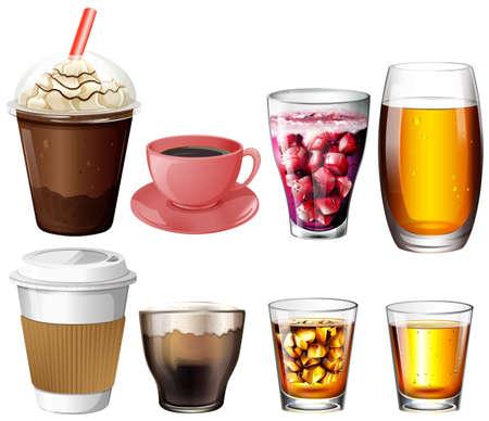 mezcla de frutas: Ilustraci�n de los caf�s, c�cteles y bebidas en un fondo blanco