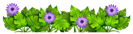 Illustration of the green leafy plants with flowers on a white background Illustration