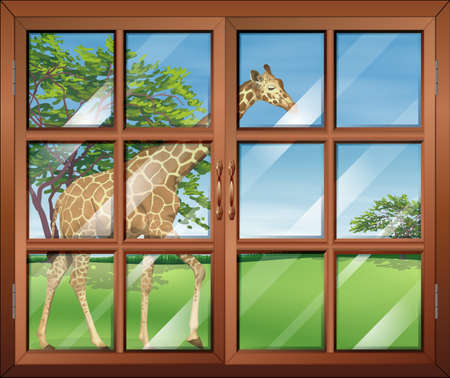 opened eye: Illustration of a closed window with a view of the giraffe
