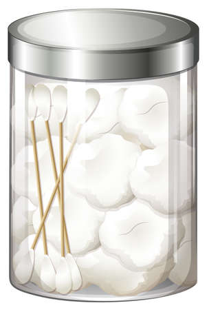 cotton bud: Illustration of a container with cotton balls and cotton buds on a white background Illustration