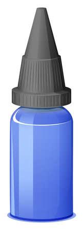 prescribed: Illustration of a blue medical bottle on a white background