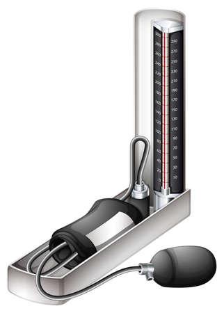 Ilustración de un dispositivo de medición de la presión arterial en un fondo blanco