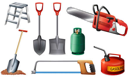 removing: Illustration of the set of important tools on a white background Illustration