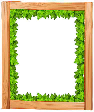 edges: Illustration of a border design made of wood and green leaves on a white background