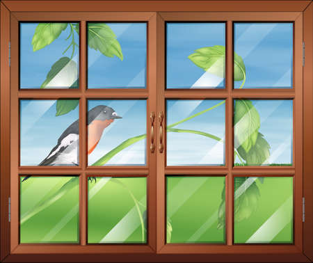 opened eye: Illustration of a window with a view of the bird at the stem of a plant