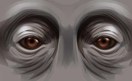 sumatran: Illustration of the eyes of an orangutan