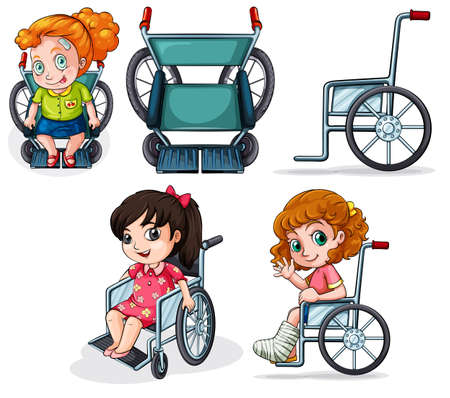 Illustration of the different wheelchairs isolated on white  Vector