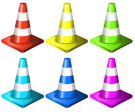 Illustration of the traffic cones isolated on white  Vector