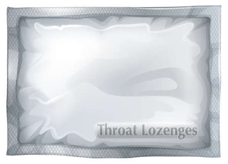 Illustration of a pack of throat lozenges on a white  Stock Illustratie
