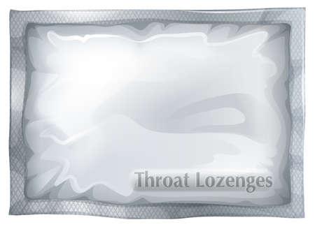 Ilustración de un paquete de pastillas para la garganta en un blanco Ilustración de vector