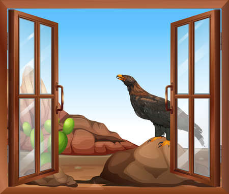 opened eye: Illustration of an open window with a view of the bird above the rock