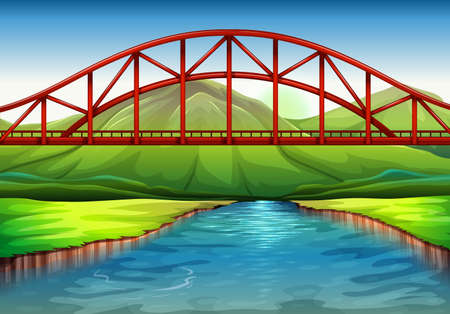 viaducts: Illustration of a bridge above the river