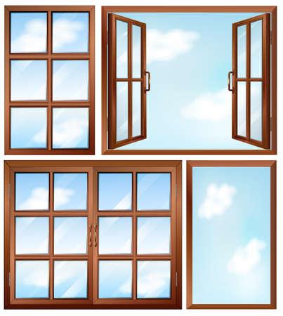 open windows: Ilustración de los diferentes diseños de ventana en un blanco