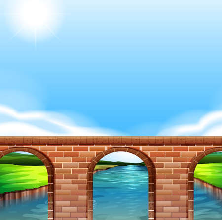 Illustration of a bridge under the bright sun Vector